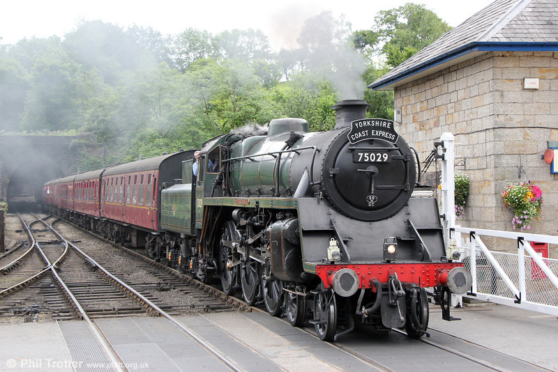 BR standard class 4 4-6-0 no. 75029 'The Green Knight' at Grosmont with the 1200 Pickering to Whitby on 4th July 2013.