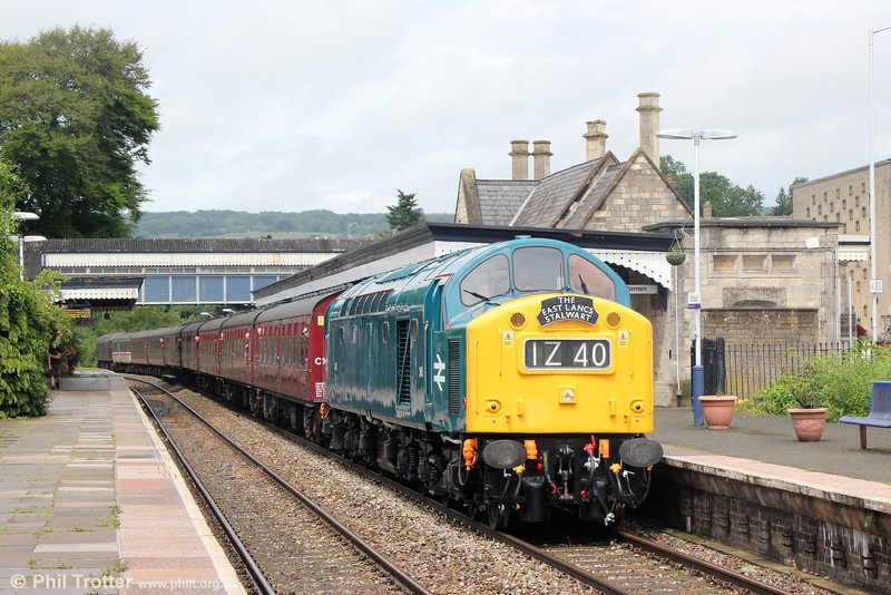 Welcome back! 40145/D345 whistles through Stroud with The Class Forty Preservation Society's 1Z40, 0639 Castleon to Oxford, 'The East Lancs Stalwart' on 7th June 2014.