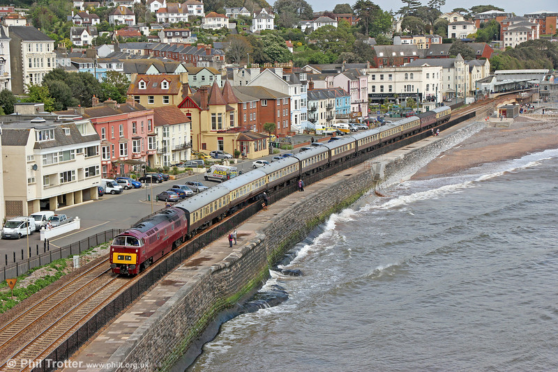 Class 52 D1015 'Western Champion' on the sea wall at Dawlish with Vintage Trains 1Z52, 0700 Solihull to Plymouth, 'Western Lickeys the Banks' on 10th May 2014.
