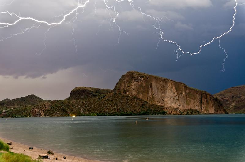 Canyon Lake illuminated by lightning