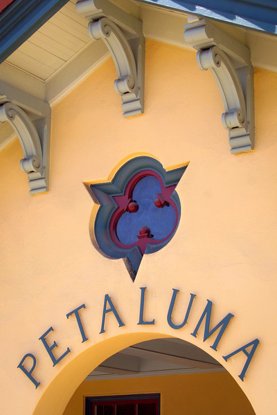 The town's name graces an archway of the restored train station in Petaluma, CA.