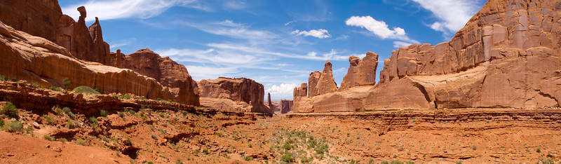 Park Avenue formation panorama, Arches National Park, UT