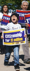 About 800 people rallied for immigration reform at Burns Park in Denver, Co, on Sat 10/5/13.
