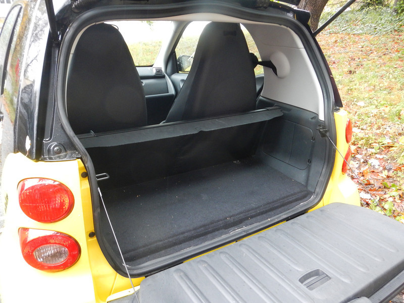 """Cargo"" compartment - privacy screen retracted. Engine access is under the carpet - lift up the carpet, and there's a hatch for oil checking and adding. While I check it regularly, I've never had to add any between changes. There is additional storage in the bottom hatch door (note the latch)."