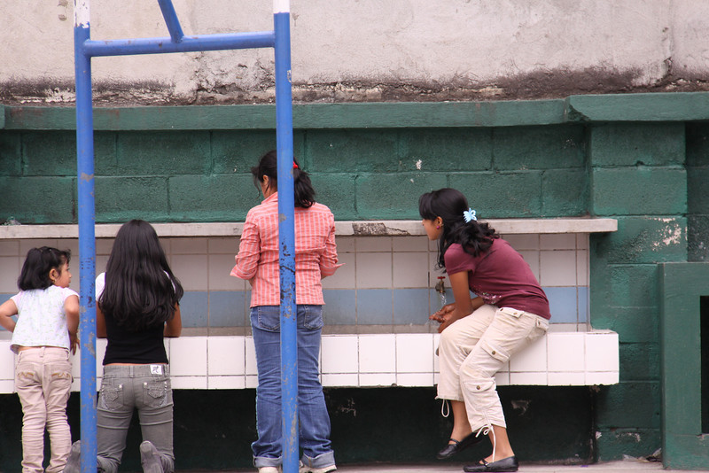 A line of sinks at the end of the playground was the training area for proper brushing of teeth.