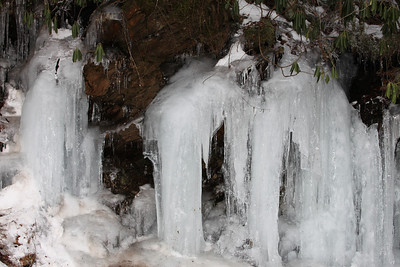 Frozen water fall along Highway 441 in the Smoky Mountains.