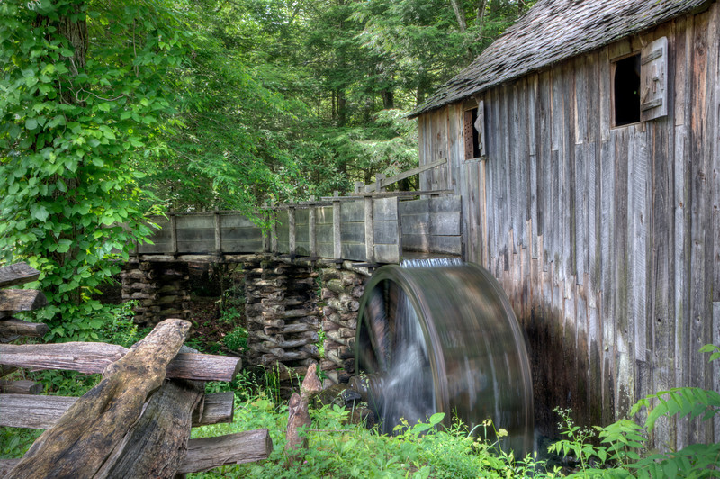 """Water Wheel"" This grain mill was operational and producing grain. This is to the right of the Cades Cove Visitor Center."