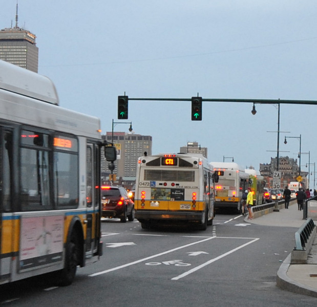 boston traffic jam: 5 #1 buses in a row.