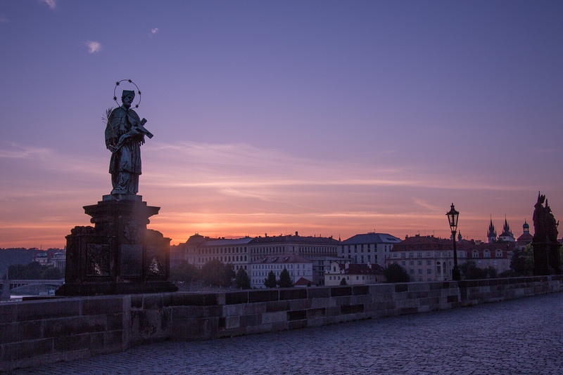 The Charles Street Bridge at Dawn, Prague, Czech Republic