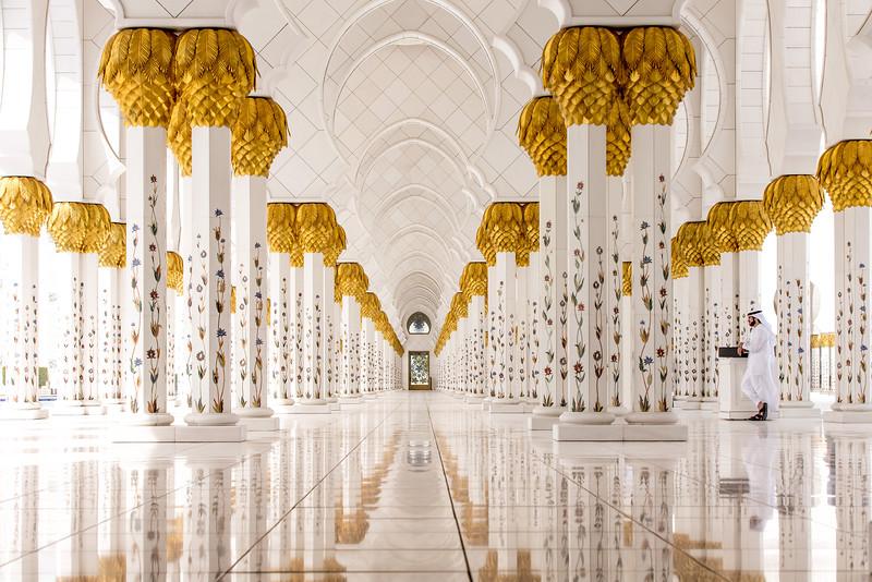 A hallway in Sheikh Zayed Grand Mosque in Abu Dhabi, United Arab Emirates