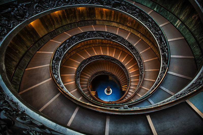 The spiral staircase leading from the Vatican Gift Shop, Vatican Museum, Vatican City, Italy
