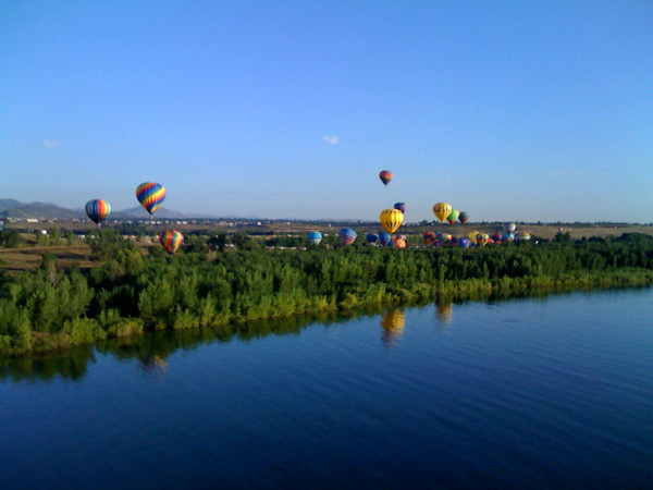 View from Flaming Wonder over Chatfield Lake at Rocky Mountain Balloon Festival.