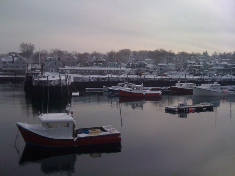 Rockport Harbor after Snowstorm