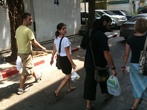 Jodi and crew bringing supplies to the detainees