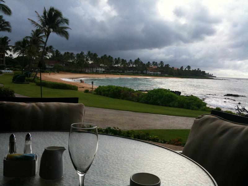 Breakfast on Poipu Beach, Kauai
