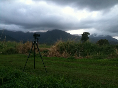 Sunset time-lapse setup facing west toward Kaliki peak, Kauai, HI. 2/12/2010.