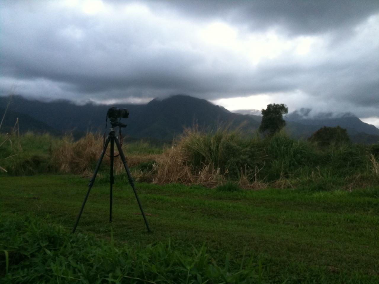 Sunset time-lapse setup facing west toward Kaliki peak, Kauai, HI. 2/12/2010.