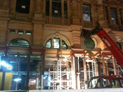Redevelopment, Pitt st Mall, Sydney - engineers have cut the lower section of building out
