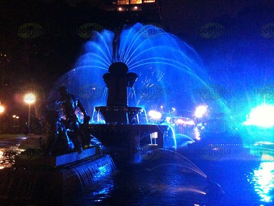 Archibald Fountain, Hyde Park Sydney, during Vivid light festival.