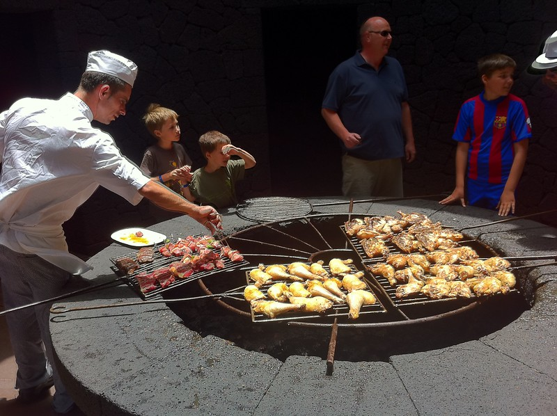 Cooking over a volcano on the Island of Lanzarote
