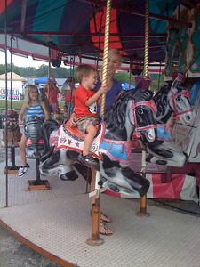While in Alabama, Jonas experienced the joys of a merry-go-round