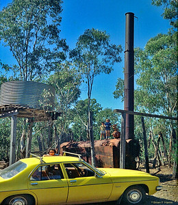 "This steam engine was the power source for the big 'Iron Bark' sleeper cutting sawmill at Barakula out from Chinchilla. A dedicated rail line ran the 28 miles from Chinchilla (3' 6 1/2"" gauge) to the sawmill with smaller steam engines, because of light line with no ballast, hauling the loaded wagons. When government closed saw mill, contractors used explosives to demolish engine."