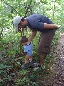 Teaching Jonas how to pee in the woods...