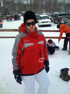 Rachael getting ready to ski!