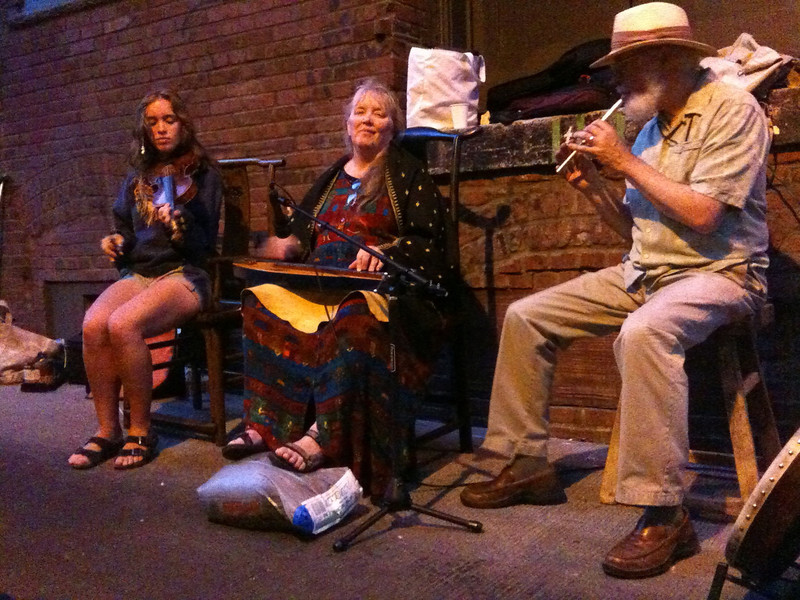 Wandering around during art walk, I came across these folks performing in an alley. They served tea as well.