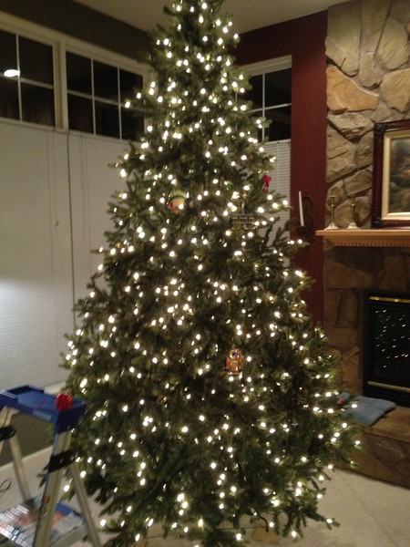 Our family room tree, before Carolyn's magic.