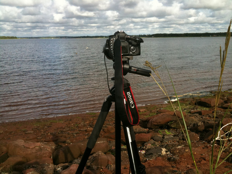 Timelapse Canon 7D setup.  Location: Off of Route 6, Jimmy Angus Cove, Prince Edward Island, Canada.  Taken with SmugShot on my iPhone.