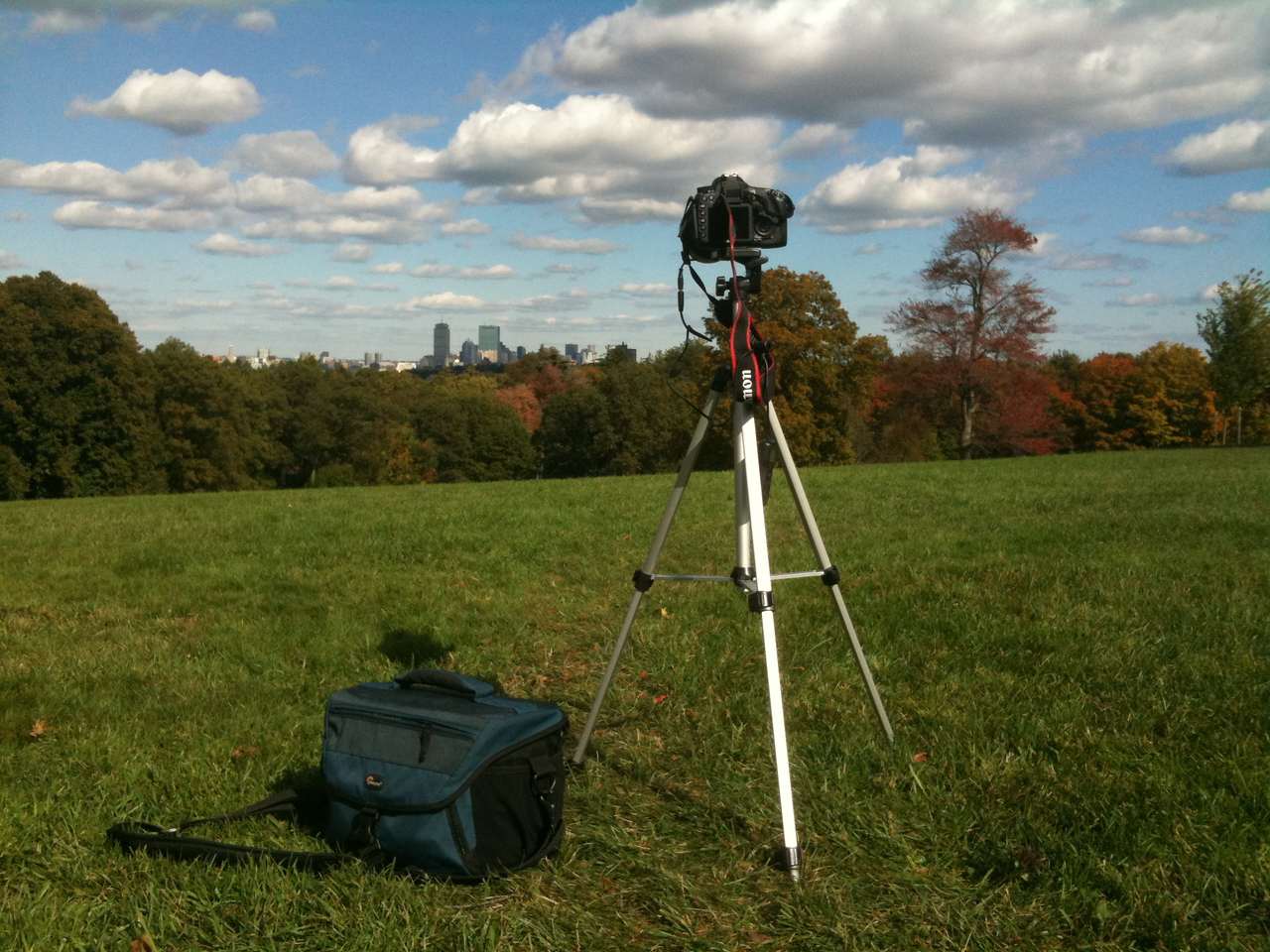 Here's my setup for Time-lapse photography at Larz Anderson Park, Brookline, MA.  The clouds were amazing, puffy and fast moving.  Taken with SmugShot on my iPhone