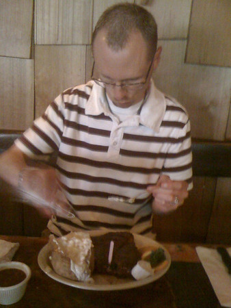 Patrick enjoying his steak at Wolf Lodge. June 2010