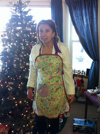 Joveina in her apron that we gave her for a Christmas Gift. We purchased it from my Aunt Maria who was making and selling aprons to help raise funds for her cancer recovery.