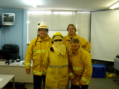 Fire training at work - I know how to light fires now ;).  (I mean put them out, really! - Trust me!)