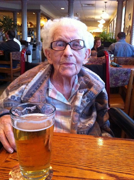 My Gram wanted a beer when we went out for dinner. At 107.5 years old, if you want a cold beer you get a cold beer!