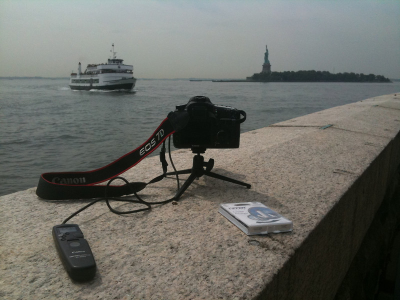Timelapse setup overlooking statue of liberty. Taken with SmugShot on my iPhone