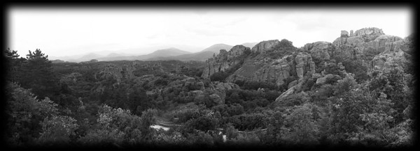 The rocks of Belogradchik and the Balkan Mountains