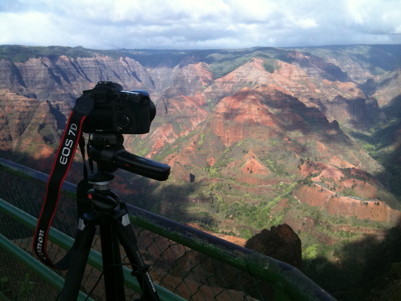 Canon 7D time-lapse photography setup from Waimea Canyon Lookout. Taken with iPhone.  View time-lapse movie gallery.  http://simpson3.smugmug.com/Other/Video/10078717_oP8Qf#790367258_ukr5k