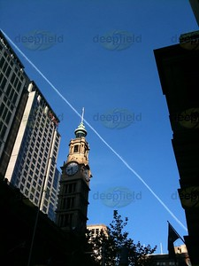 GPO at Martin place, aeroplane trail