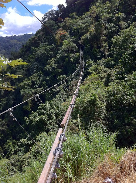 A monkey bridge crossing the valley