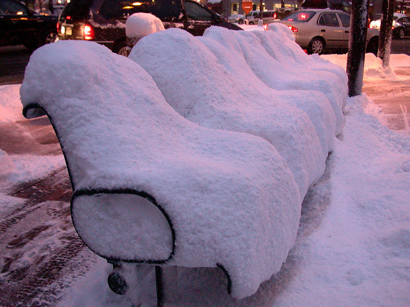 Across from Back Bay Station: Snow chairs.