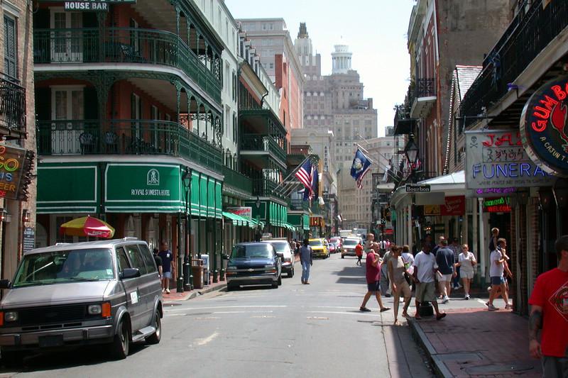 Bourbon Street, view toward Canal Street.