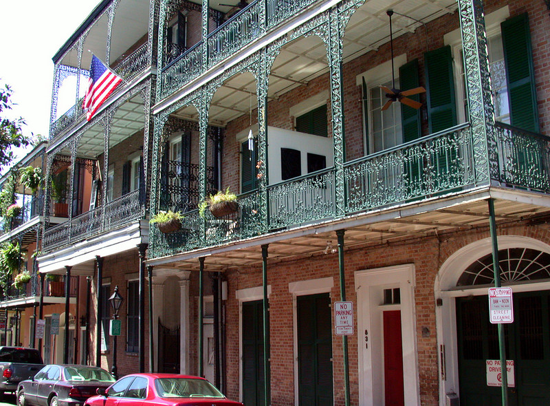 A typical French Quarter street front.