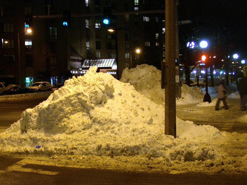 Snow banks on Tuesday evening.