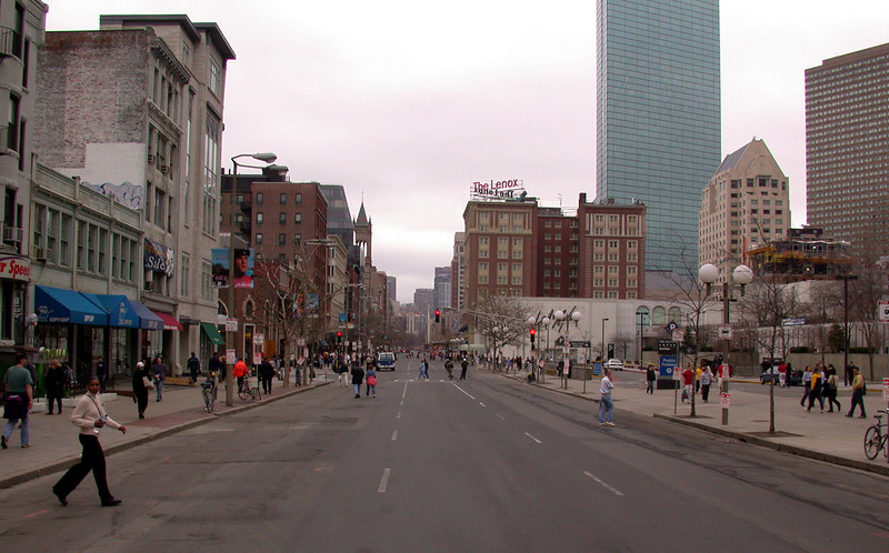 Empty Boylston Str, looking towards downtown.