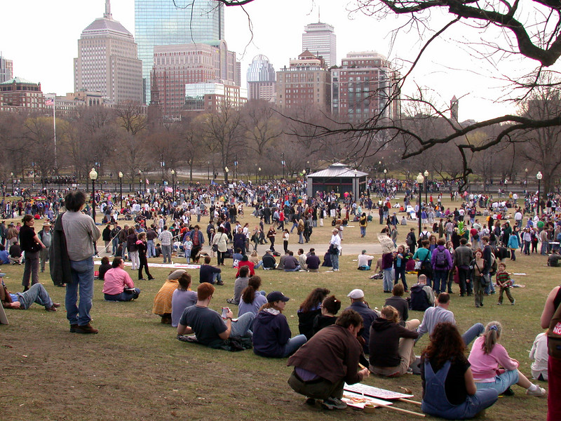 View on the protesters in the Boston Commons later in the afternoon.