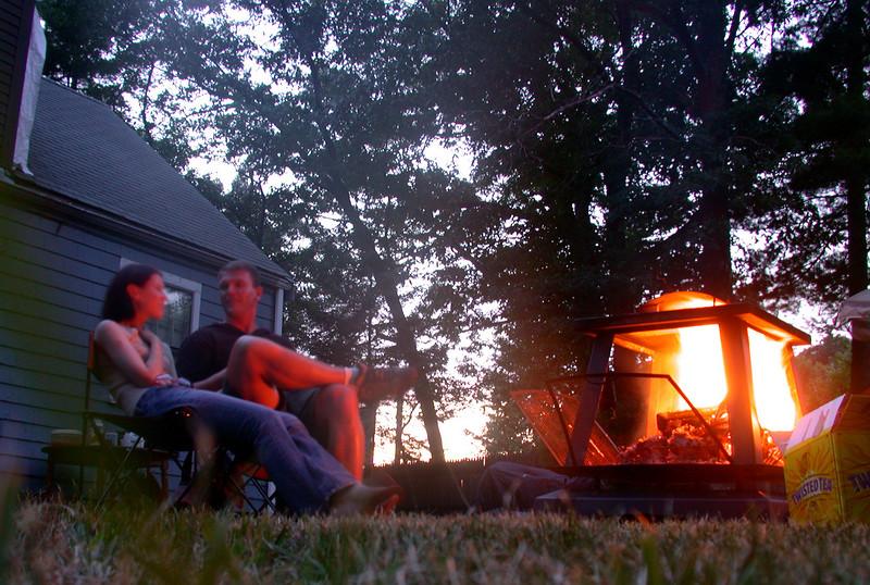 At the campfire.