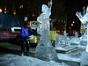 Ice sculpture with sculpter at Copley Sq 1.