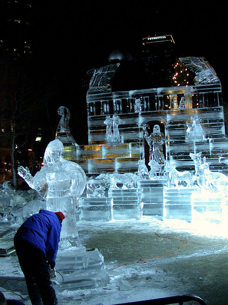 Ice sculpture with sculpter at Copley Sq 4.
